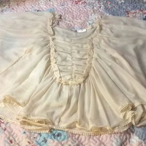 NWOT Sensual butterfly sleeves sheer tunic blouse